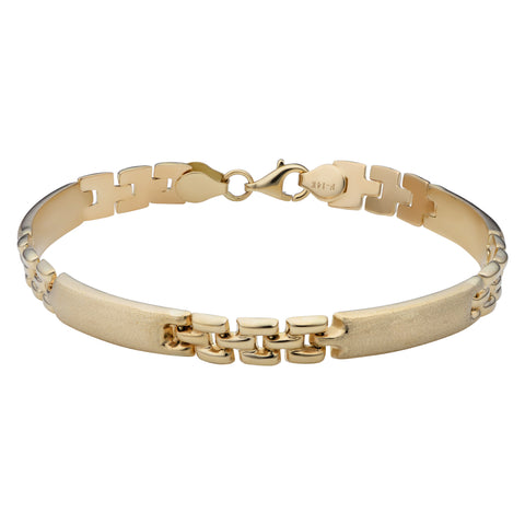 14k Yellow Gold Fancy Satin Bar Bracelet, 8""