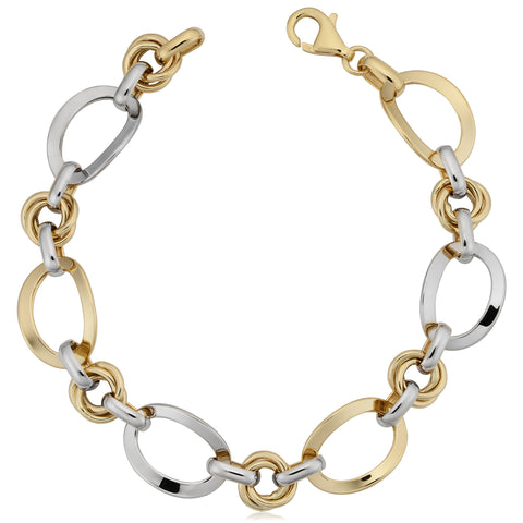 14k White And Yellow Gold Oval Link Womens Bracelet, 7.5""