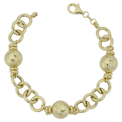 14k Yellow Gold Diamond Cut Ball Station Womens Bracelet, 7.75""