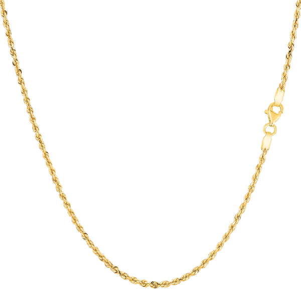 14k Yellow Solid Gold Diamond Cut Rope Chain Necklace , 1.25mm