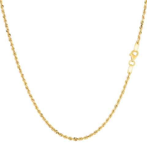 10k Yellow Solid Gold Diamond Cut Rope Chain Necklace , 1.25mm