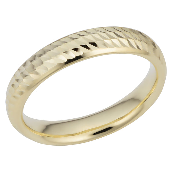14k Yellow Gold Diamond Cut 4mm Wide Wedding Band Ring