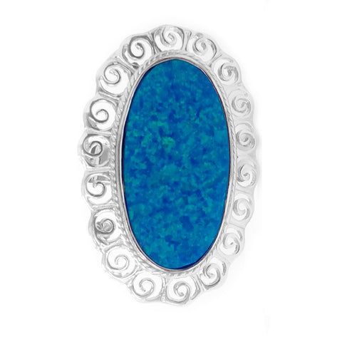 Greek Spira Themed Synthetic Opal Ring In Rhodium Plated Sterling Silver