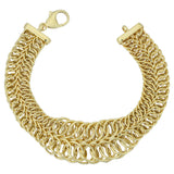 14k Yellow Gold 2 Row Graduated Round Link Womens Bracelet, 7.75""