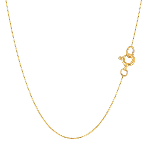 14k Yellow Solid Gold Mirror Box Chain Necklace, 0.45mm