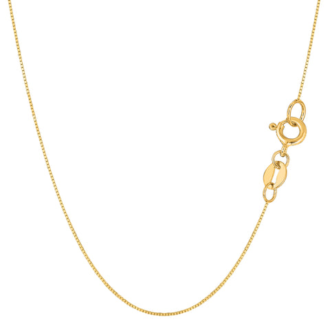 14k Yellow Gold Classic Mirror Box Chain Necklace, 0.6mm