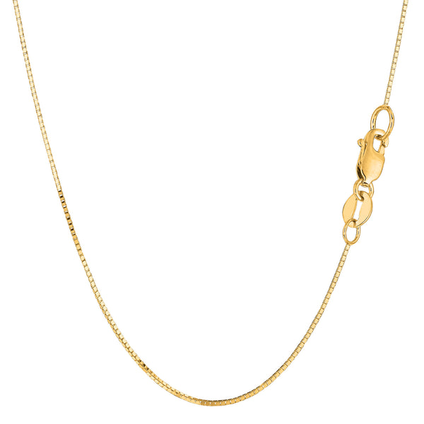 14k Yellow Solid Gold Mirror Box Chain Necklace, 0.7mm