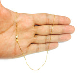 14k Yellow Gold Classic Mirror Box Chain Necklace, 0.7mm