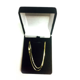14k Yellow Solid Gold Mirror Box Chain Necklace, 1mm