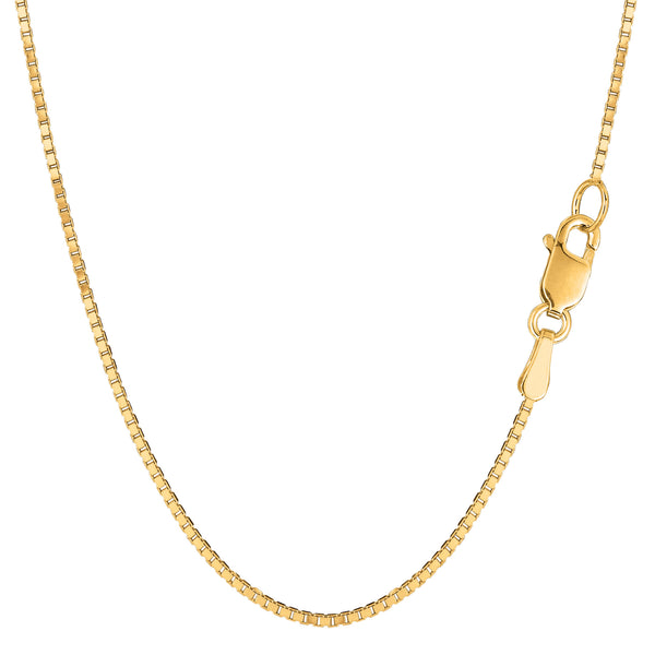 14k Yellow Solid Gold Mirror Box Chain Necklace, 1.2mm