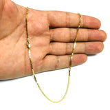 14k Yellow Solid Gold Mirror Box Chain Necklace, 1.4mm