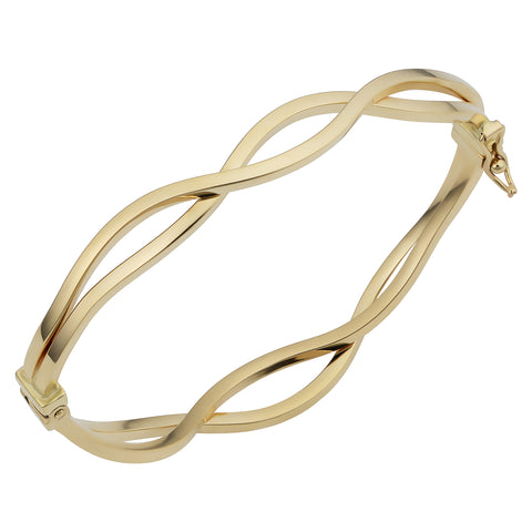 14k Yellow Gold Wavy Women's Bangle Bracelet, 7.5""
