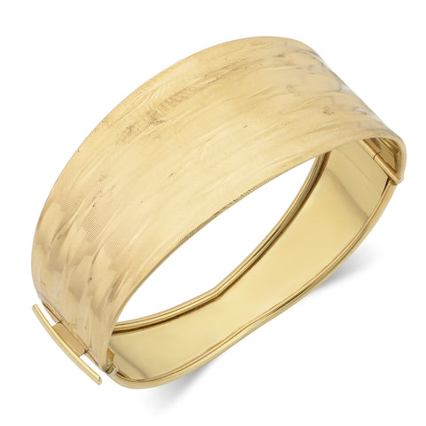 14k Yellow Gold Hinged Women's Bangle Bracelet, 7.5""