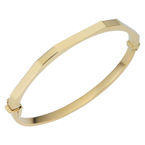 14k Yellow Gold Geometric Women's Bangle Bracelet, 7.75""