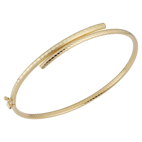 14k Yellow Gold Bypass Women's Bangle Bracelet, 7.5""