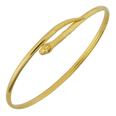 14k Yellow Gold Snake Women's Bangle Bracelet, 7.5""