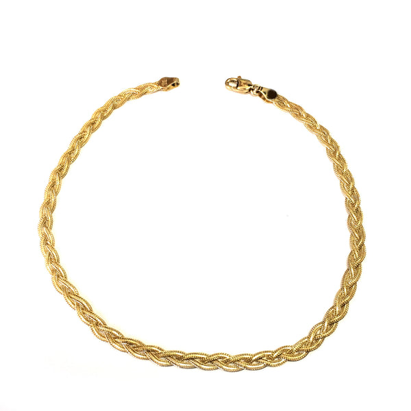 14K Yellow Gold Diamond Cut Braided Fox Chain Anklet, 10""