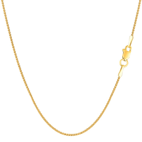 14k Yellow Gold Round Diamond Cut Wheat Chain Necklace, 1.0mm - JewelryAffairs  - 1
