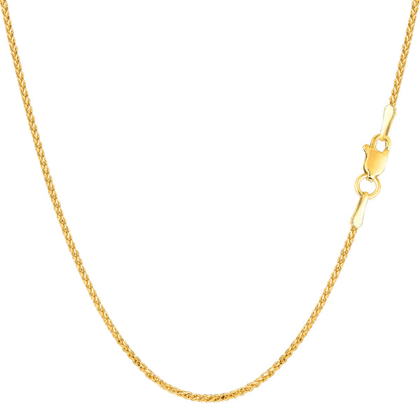 14k Yellow Gold Round Diamond Cut Wheat Chain Necklace, 1.15mm