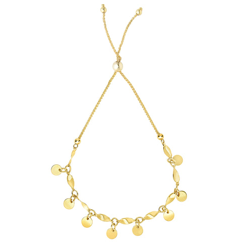 Multi Strand Round Disc Bolo Friendship Bracelet In 14K Yellow Gold, 9.25""