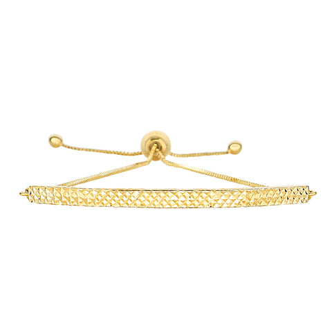 14K Yellow Gold Diamond Cut Curved Bar Element Anchored on Box Chain Adjustable Bracelet , 9.25""