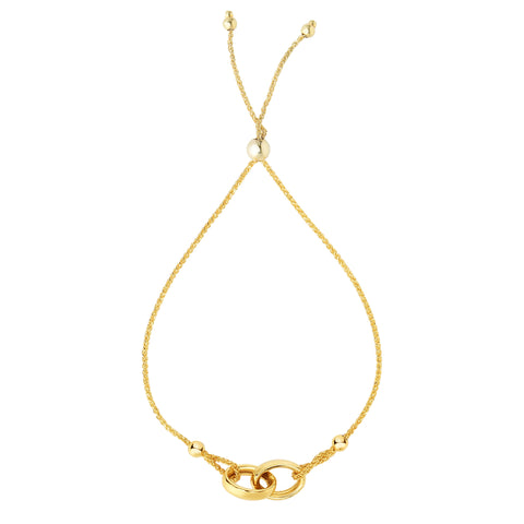 Interlocked Double Ring Element  Bolo Friendship Bracelet In 14K Yellow Gold, 9.25""