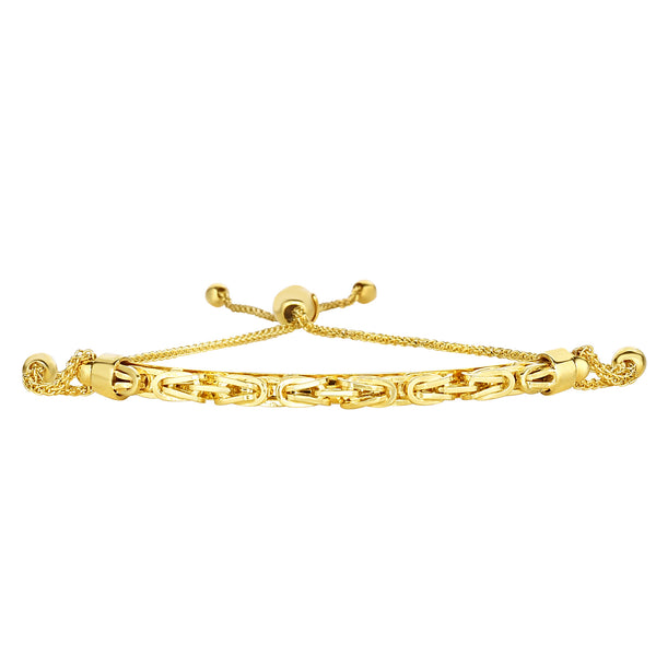 14K Yellow Gold Round Diamond Cut Wheat Adjustable Bracelet Arched Byzantine Center, 9.25""