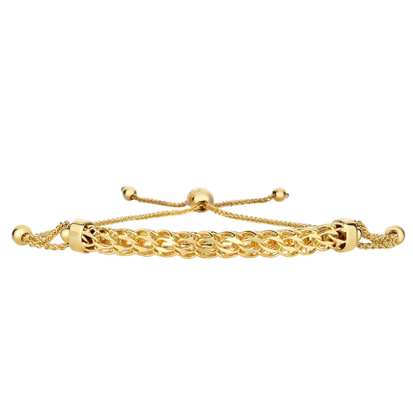 14K Yellow Gold Round Diamond Cut Wheat Adjustable Bracelet With Arched Center, 9.25""