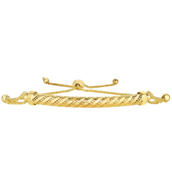 14K Yellow Gold Round Diamond Cut Wheat Adjustable Bracelet With Arched Domed Bar, 9.25""