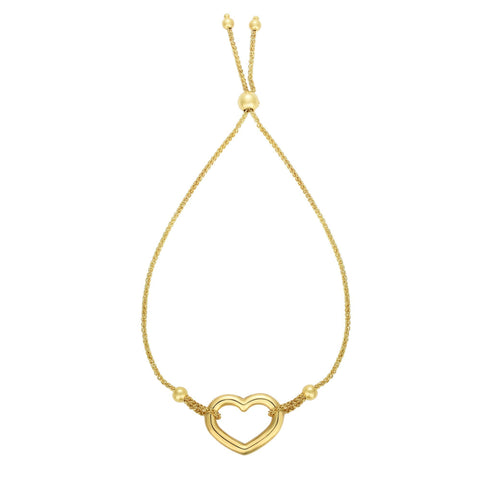 14k Yellow Gold Adjustable Heart Charm Bolo Bracelet, 9.25""