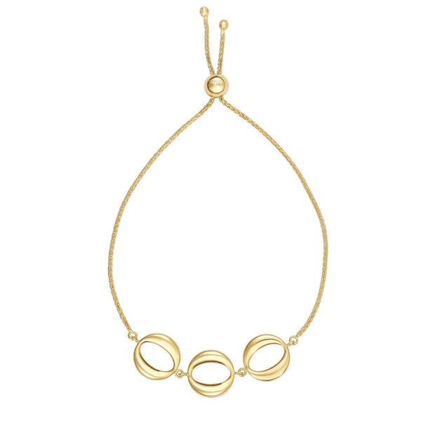 14k Yellow Gold Adjustable Circle Charms Bolo Bracelet, 9.25""