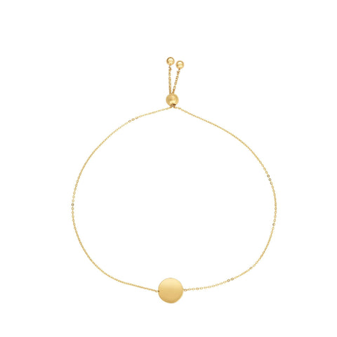 14k Yellow Gold Adjustable Round Charm Bolo Friendship Bracelet, 9.25""