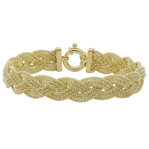 14k Yellow Gold Braided Triple Popcorn Link Womens Bracelet, 7.5""