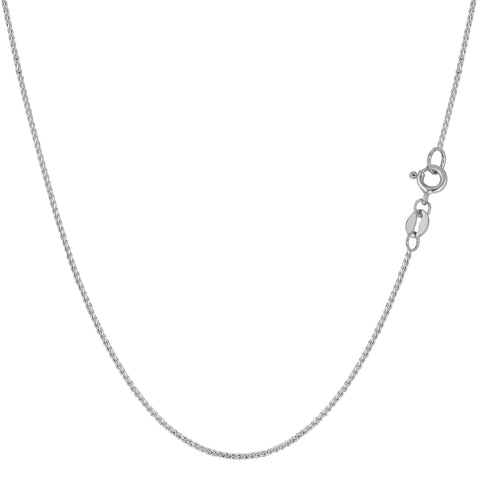 14k White Gold Round Diamond Cut Wheat Chain Necklace, 0.6mm