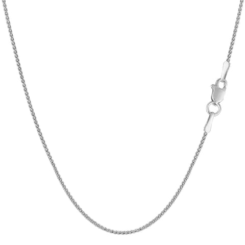 14k White Gold Round Diamond Cut Wheat Chain Necklace, 1.0mm - JewelryAffairs  - 1
