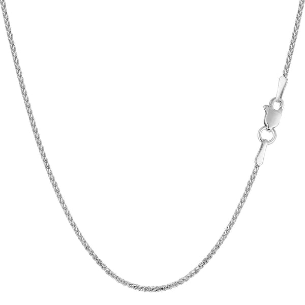 14k White Gold Round Diamond Cut Wheat Chain Necklace, 1.15mm