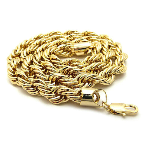 14k Yellow Solid Gold Rope Chain Necklace, 12mm, 26""