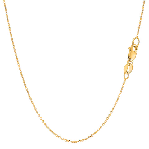 14k Yellow Gold Cable Link Chain Necklace, 0.8mm - JewelryAffairs  - 1