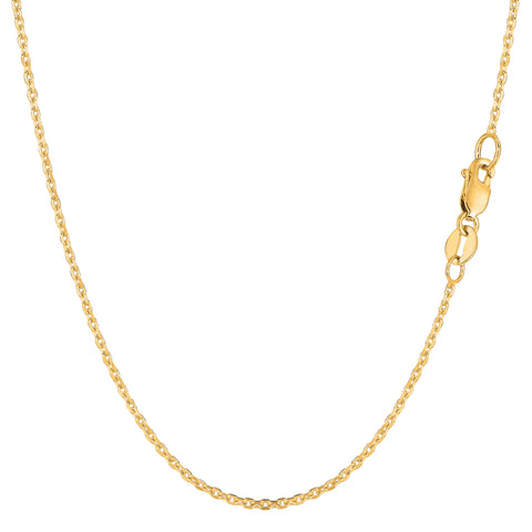 14k Yellow Gold Cable Link Chain Necklace, 1.4mm