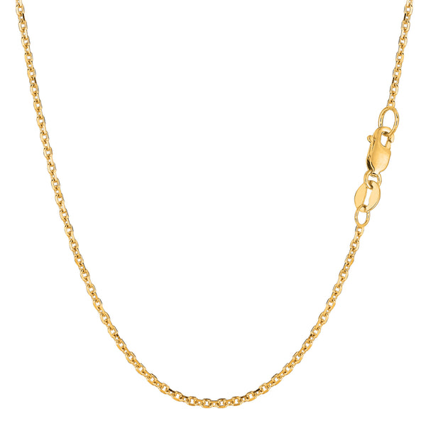 14k Yellow Gold Cable Link Chain Necklace, 1.5mm