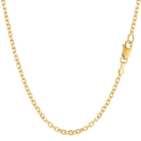 14k Yellow Gold Cable Link Chain Necklace, 2.3mm