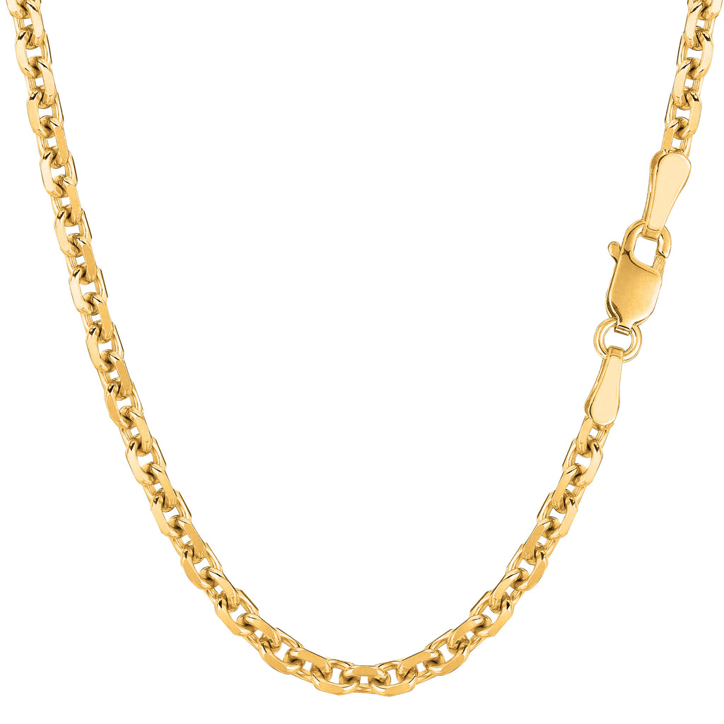 14k White Gold 1.4mm Polished Cable Link Chain Necklace 16-30