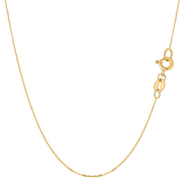 14k Yellow Gold Cable Link Chain Necklace, 0.6mm - JewelryAffairs  - 1