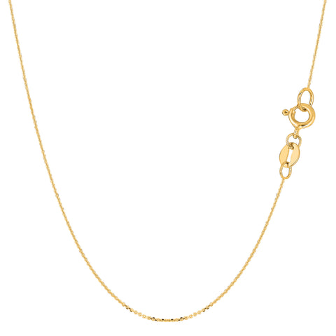 14k Yellow Gold Cable Link Chain Necklace, 0.6mm