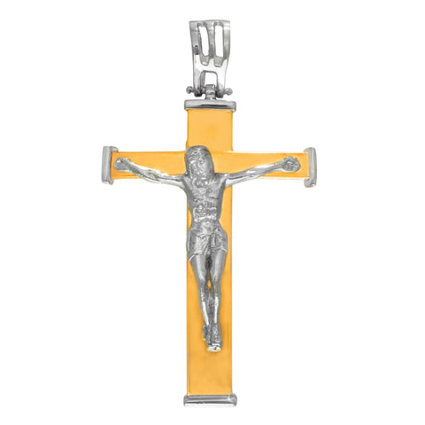 14k 2 Tone Gold Square Style Crucifix Pendant - JewelryAffairs  - 1