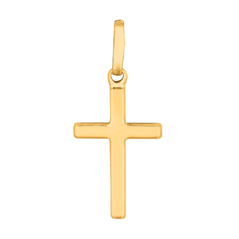 14k Yellow Gold Shiny Square Flat Style Cross Pendant - JewelryAffairs  - 1