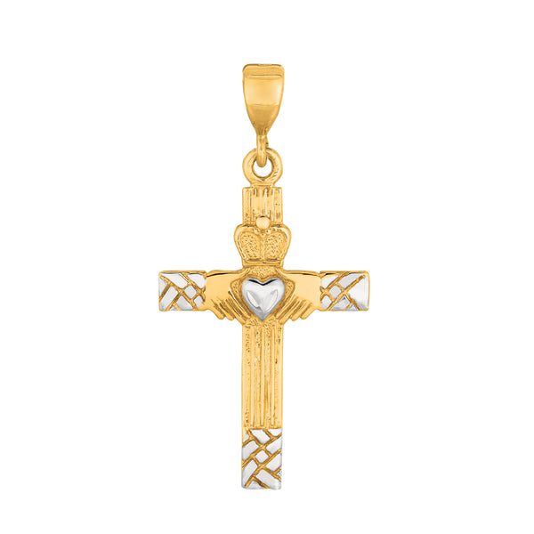 14k 2 Tone Gold Claddagh Style Cross Pendant
