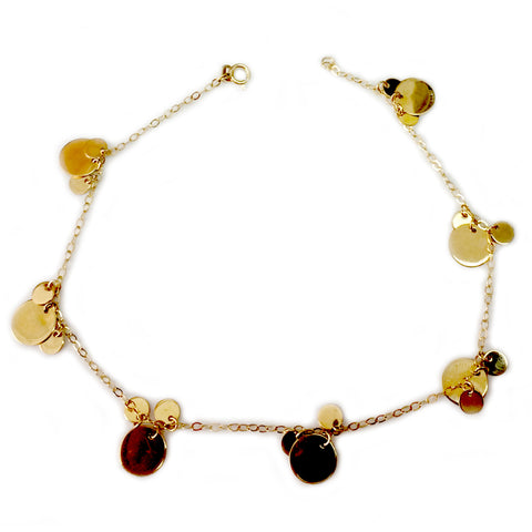 14K Yellow Gold Round Discs Ladies Anklet, 10""