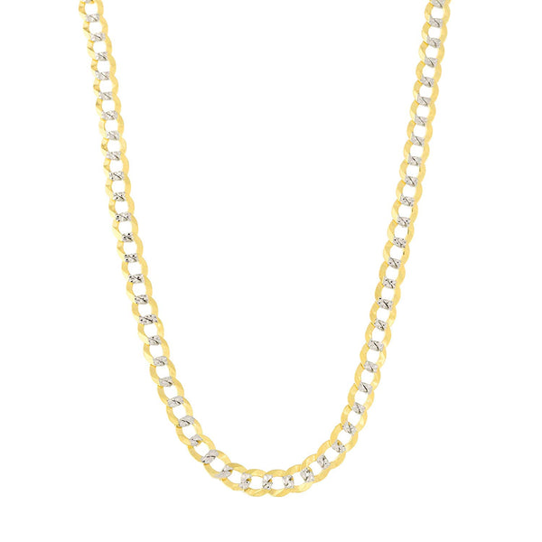 14k 2 Tone Yellow And White Gold Curb Chain Necklace, 2.6mm