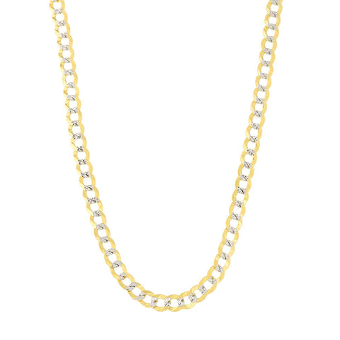 14k 2 Tone Yellow And White Gold Curb Chain Necklace, 3.2mm